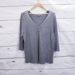 Addition Elle Gray V-Neck Sweater 3/4 Sleeve Casual Plus Size 2X Cozy